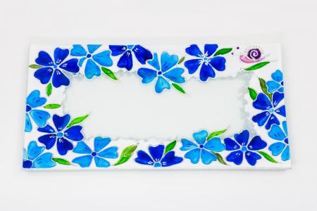 Üvegtál kék virágmintával